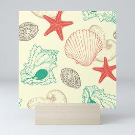Sea Shells and Sea Life Pattern Mini Art Print