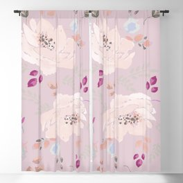 Watercolor blooming roses, tulips, and leaves contrast pinks Blackout Curtain