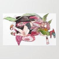 bouletcorp Area & Throw Rugs featuring Geisha Rose by Bouletcorp