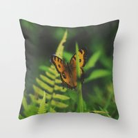 bali Throw Pillows featuring Butterfly, Bali by Dominique Felicity Photography