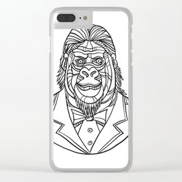 Gorilla Wearing Tuxedo Bust Monoline Clear iPhone Case