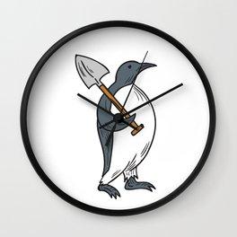 Emperor Penguin Holding Shovel Drawing Wall Clock