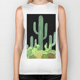 Night Desert Prickly Cactus Bunch Biker Tank
