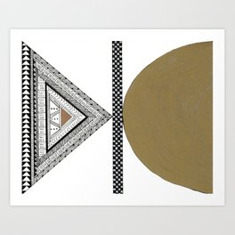 Geometric Shapes with Gold, Copper and Silver Art Print