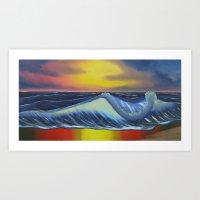 Ocean Sunset Reflections Art Print