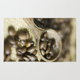 Old coffee beans spoon Rug