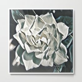 White Azalea Flower with Green Leaves Metal Print