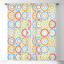 Abstract Circles Repeat Pattern Color Mix & Greys Blackout Curtain