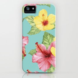 Tropical Hawaiian Hibiscus Floral Print iPhone Case