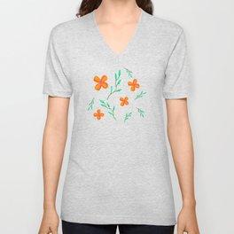 Flower Pattern on White Unisex V-Neck