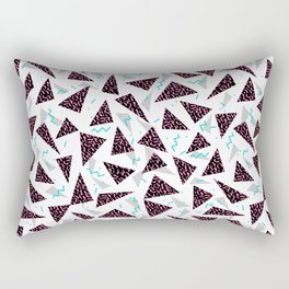 Trendy 80's style geometric triangle retro cool neon pattern art print affordable college dorm decor Rectangular Pillow