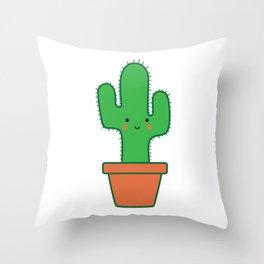 Cute Smiling Kawaii Cactus in Pot Throw Pillow
