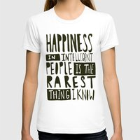 hemingway T-shirts featuring Hemingway: Happiness by Leah Flores