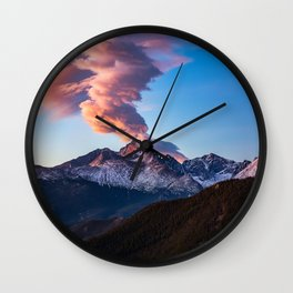 Fire on the Mountain - Sunrise Illuminates Cloud Over Longs Peak in Colorado Wall Clock