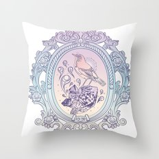 Bird and Stone Vintage framed Throw Pillow