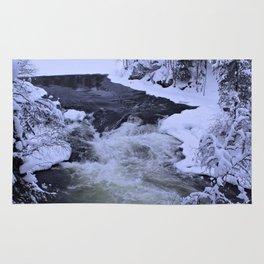 Water Fall In Winter Rug
