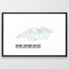 Grand Targhee Resort, WY - Minimalist Trail Art Framed Art Print