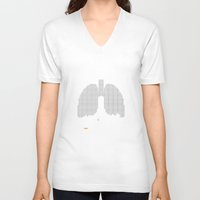 smoking V-neck T-shirts featuring Quit Smoking by Pixelmaniacs