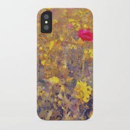Red Poppy in Yellow Corn Marigolds iPhone Case