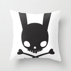 SKULL BUNNY OF PIRATES Throw Pillow