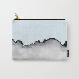 Light Blue Gray and Black Graphic Cloud Effect Carry-All Pouch