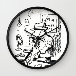 Hard-Boiled Detective Ape Shaves at the Office Wall Clock