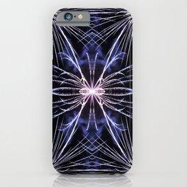 Beautiful blue fireworks effect surreal shaped in symmetrical kaleidoscope iPhone Case