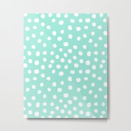 Preppy mint  dots polka dots abstract minimal white brushstroke dot pattern print painting  Metal Print