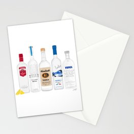 Vodka Bottles Illustration Stationery Cards