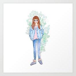 Denim Girl Art Print