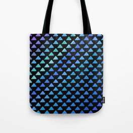 Blue geometric pattern with black background Tote Bag