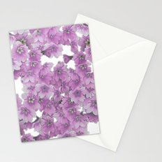 Pink Flowers on White Stationery Cards