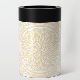 Pale Yellow Simple Simplistic Mandala Design Ethnic Tribal Pattern Can Cooler