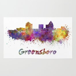 Greensboro skyline in watercolor Rug