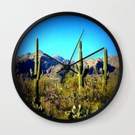 Tres Saguaros Wall Clock