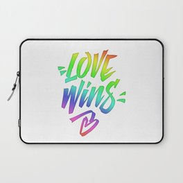 Love Wins Lettering with Rainbow colors Gradient Laptop Sleeve