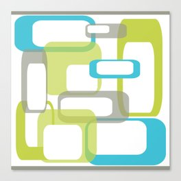 Mid-Century Modern Rectangle Design Blue Green and Gray Canvas Print