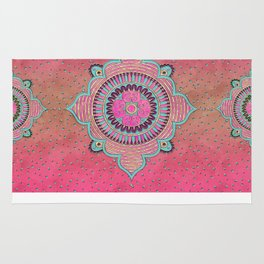 India Pink Mandala Pattern Rug