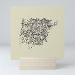 Spain antique map mottled faded digitally modified Mini Art Print
