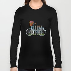Vintage bicycle with basket full of violets flowers Long Sleeve T-shirt