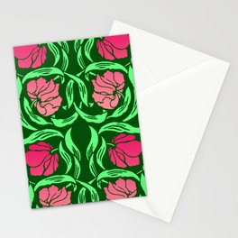 William Morris Pimpernel, Coral Pink and Green Stationery Cards