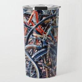 Lots of colorfull bycicles Travel Mug