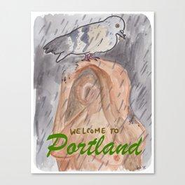 Portland Pigeon - Kvinneakt Welcome Canvas Print