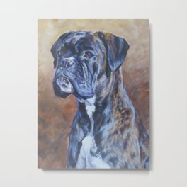 brindle BOXER dog art portrait from an original fine art painting by L.A.Shepard Metal Print