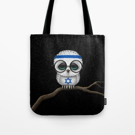 Baby Owl with Glasses and Israeli Flag Tote Bag