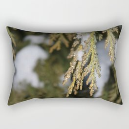 Frozen Pine Tree Leaves Rectangular Pillow