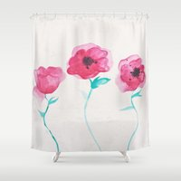 asian Shower Curtains featuring Asian Poppies by DuckyB