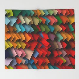 colorful rectangles with shadows Throw Blanket