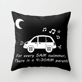 Swim Parents at 4:30AM BLACK/WHITE (Square version) Throw Pillow
