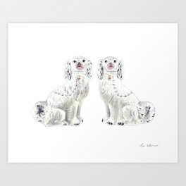 Pair of Staffordshire Dogs in White Art Print
